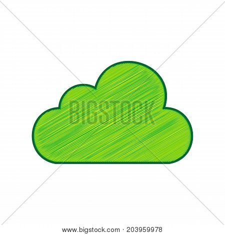 Cloud sign illustration. Vector. Lemon scribble icon on white background. Isolated