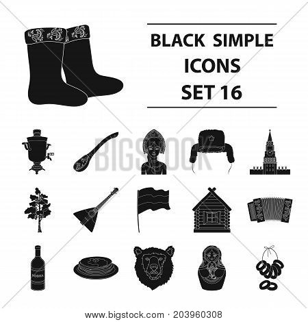 Russia country set icons in black design. Big collection of Russia country vector symbol stock illustration