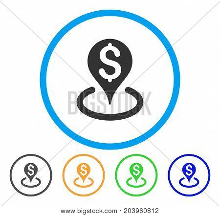 Bank Location icon. Vector illustration style is a flat iconic bank location gray rounded symbol inside light blue circle with black, green, blue, yellow color versions.