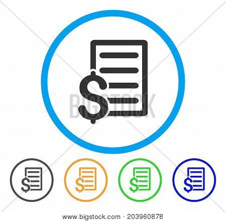 Business Contract icon. Vector illustration style is a flat iconic business contract gray rounded symbol inside light blue circle with black, green, blue, yellow color versions.