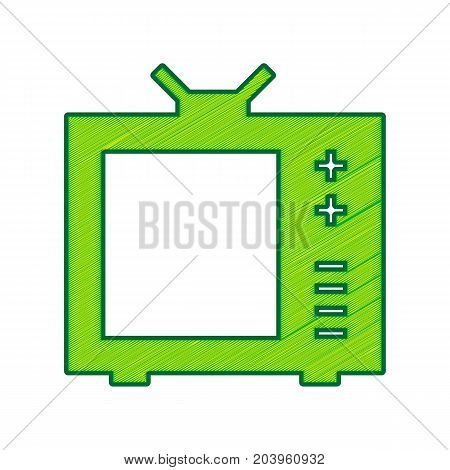 TV sign illustration. Vector. Lemon scribble icon on white background. Isolated