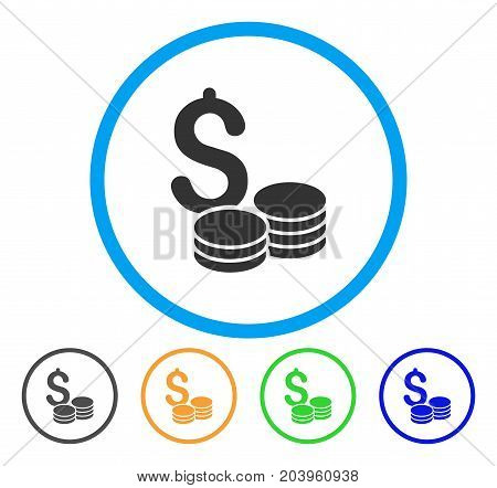 Dollar Cash icon. Vector illustration style is a flat iconic dollar cash grey rounded symbol inside light blue circle with black, green, blue, yellow color versions.