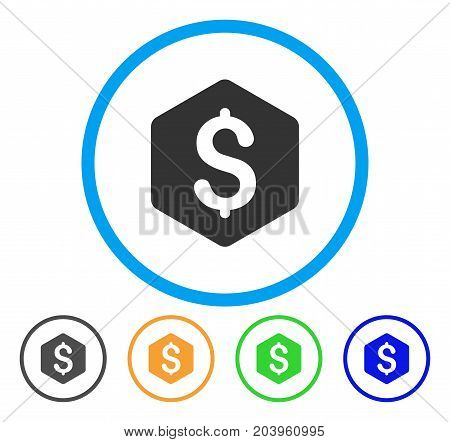 Dollar Hexagon icon. Vector illustration style is a flat iconic dollar hexagon grey rounded symbol inside light blue circle with black, green, blue, yellow color variants.
