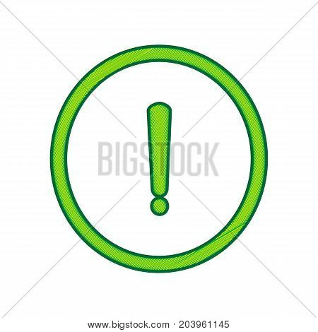 Exclamation mark sign. Vector. Lemon scribble icon on white background. Isolated