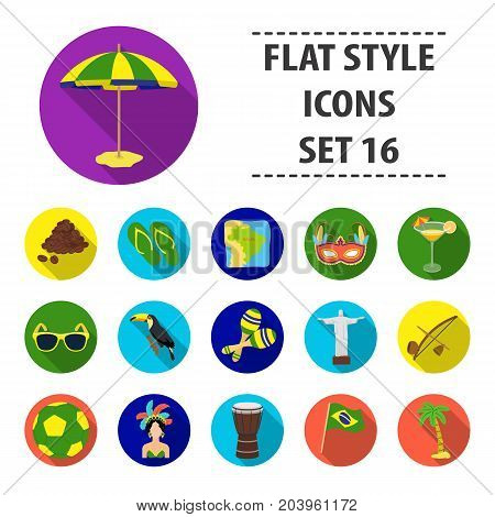 Brazil country set icons in flat design. Big collection of Brazil country vector symbol stock illustration