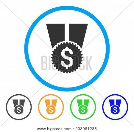 Financial Medal icon. Vector illustration style is a flat iconic financial medal grey rounded symbol inside light blue circle with black, green, blue, yellow color versions.