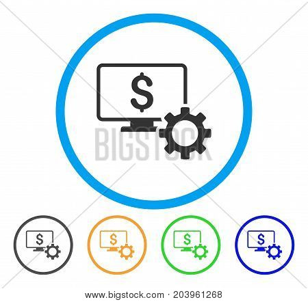 Financial Monitoring Options icon. Vector illustration style is a flat iconic financial monitoring options grey rounded symbol inside light blue circle with black, green, blue, yellow color versions.