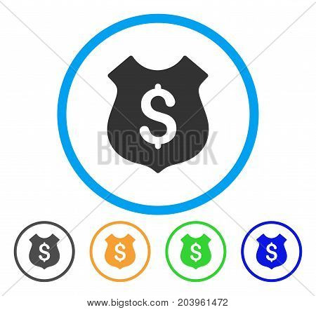 Financial Shield icon. Vector illustration style is a flat iconic financial shield grey rounded symbol inside light blue circle with black, green, blue, yellow color variants.