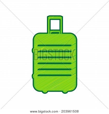 Baggage sign illustration. Vector. Lemon scribble icon on white background. Isolated