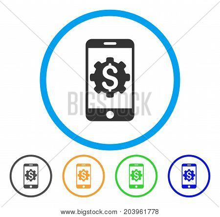 Mobile Bank Setup icon. Vector illustration style is a flat iconic mobile bank setup gray rounded symbol inside light blue circle with black, green, blue, yellow color versions.