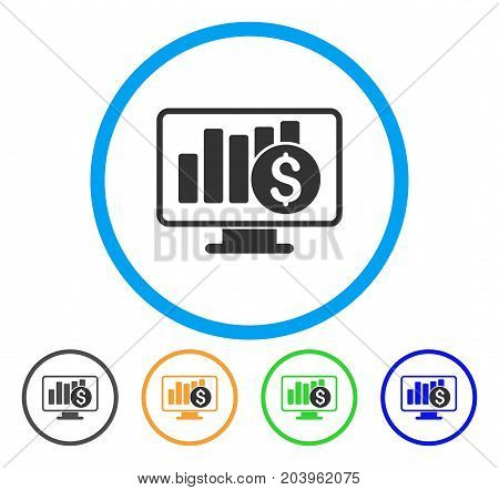 Stock Market Monitoring icon. Vector illustration style is a flat iconic stock market monitoring gray rounded symbol inside light blue circle with black, green, blue, yellow color variants.