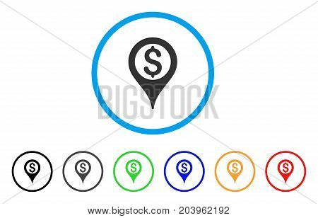 Bank Map Pointer icon. Vector illustration style is a flat iconic bank map pointer gray rounded symbol inside light blue circle with black, gray, green, blue, red, orange color additional versions.