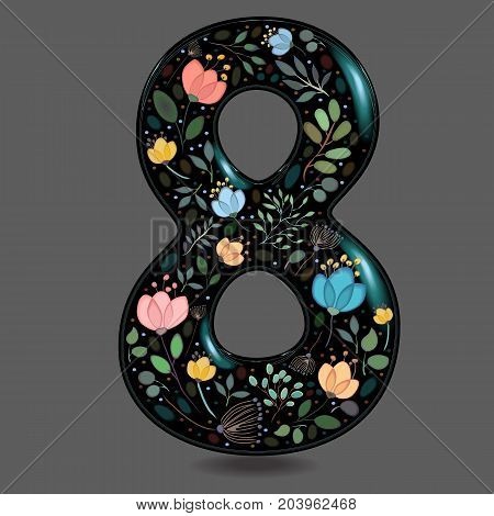Number Eight with Floral Decor. Black glared numeral. Colorful graceful flowers plants and blurs with watercolor effect. Gray background. Illustration