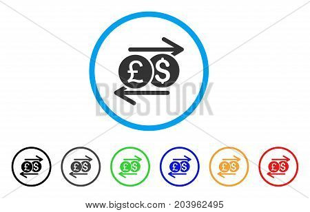 Currency Exchange icon. Vector illustration style is a flat iconic currency exchange grey rounded symbol inside light blue circle with black, gray, green, blue, red, orange color variants.