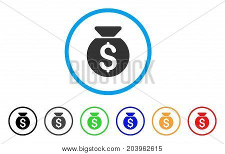 Financial Capital icon. Vector illustration style is a flat iconic financial capital grey rounded symbol inside light blue circle with black, gray, green, blue, red, orange color additional versions.