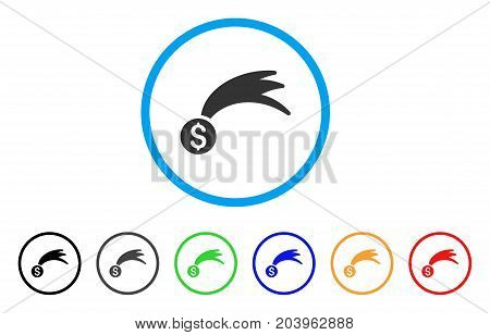 Lucky Money icon. Vector illustration style is a flat iconic lucky money gray rounded symbol inside light blue circle with black, gray, green, blue, red, orange color versions.