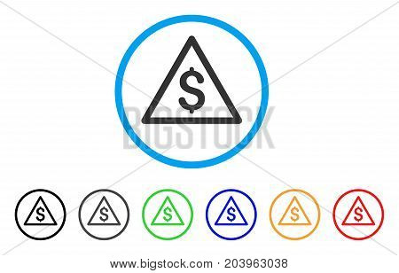 Money Warning icon. Vector illustration style is a flat iconic money warning gray rounded symbol inside light blue circle with black, gray, green, blue, red, orange color additional versions.