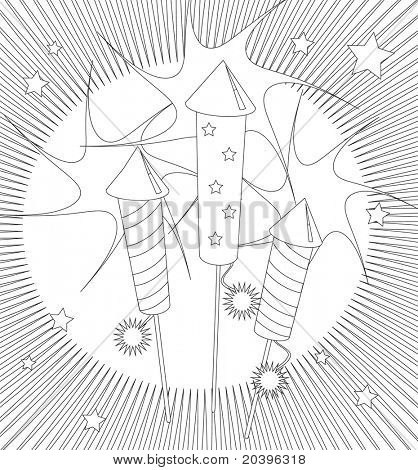 Fireworks colouring page. Activity sheet for children suitable for printable colouring pages or for party invitations or craft cards. EPS10 vector format.