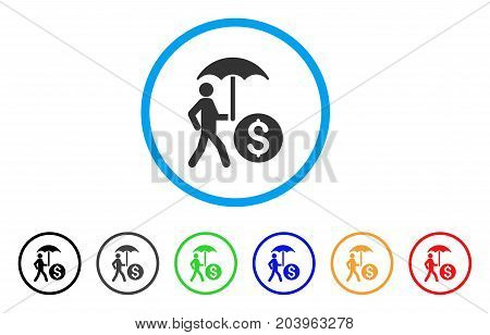 Walking Banker With Umbrella icon. Vector illustration style is a flat iconic walking banker with umbrella gray rounded symbol inside light blue circle with black, gray, green, blue, red,
