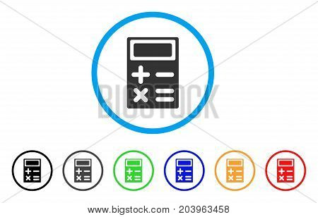 Calculator icon. Vector illustration style is a flat iconic calculator grey rounded symbol inside light blue circle with black, gray, green, blue, red, orange color additional versions.