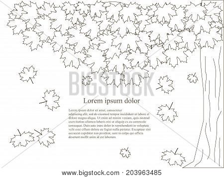 Monochrome background with maple tree, fall, Lorem ipsum stock vector illustration