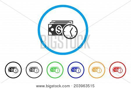 Credit icon. Vector illustration style is a flat iconic credit grey rounded symbol inside light blue circle with black, gray, green, blue, red, orange color additional versions.