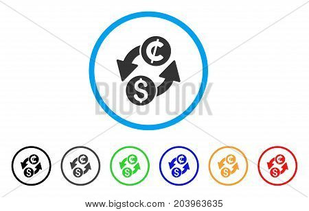 Dollar Cent Exchange icon. Vector illustration style is a flat iconic dollar cent exchange gray rounded symbol inside light blue circle with black, gray, green, blue, red,