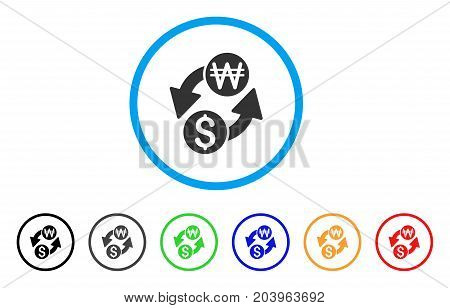 Dollar Korean Won Exchange icon. Vector illustration style is a flat iconic dollar korean won exchange gray rounded symbol inside light blue circle with black, gray, green, blue, red,