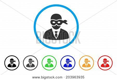 Masked Thief icon. Vector illustration style is a flat iconic masked thief grey rounded symbol inside light blue circle with black, gray, green, blue, red, orange color variants.