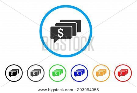 Money Messages icon. Vector illustration style is a flat iconic money messages gray rounded symbol inside light blue circle with black, gray, green, blue, red, orange color variants.