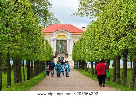 Peterhof, Russia - June 03. 2017. Pavilion Hermitage and Foliage Alley in the Lower Park