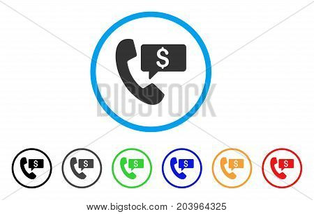 Phone Order icon. Vector illustration style is a flat iconic phone order gray rounded symbol inside light blue circle with black, gray, green, blue, red, orange color versions.