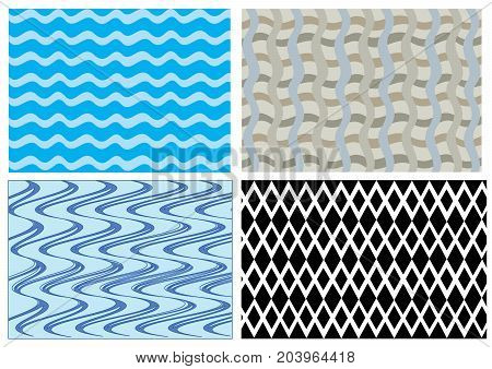 four different samples of wave and diamond patterns blue and black and white