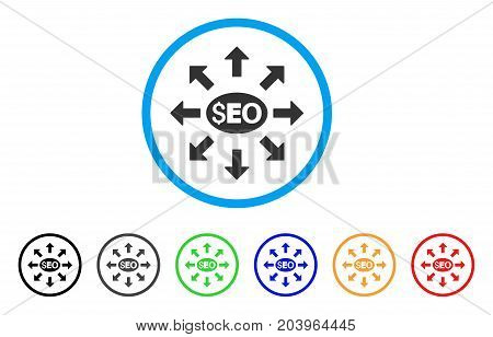 Seo Distribution icon. Vector illustration style is a flat iconic seo distribution gray rounded symbol inside light blue circle with black, gray, green, blue, red, orange color variants.