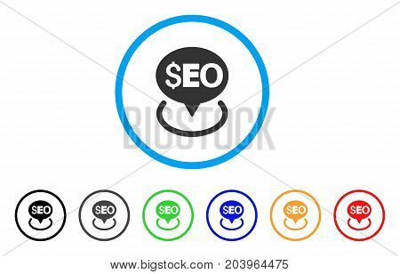 Seo Geotargeting icon. Vector illustration style is a flat iconic seo geotargeting gray rounded symbol inside light blue circle with black, gray, green, blue, red, orange color versions.