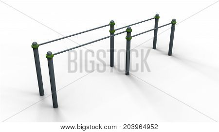 Calisthenics parallel bars isolated on a white background 3d illustration render
