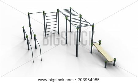 street sport rack complex 3 isolated on a white background 3d illustration render