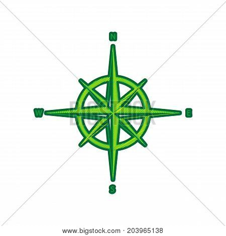 Wind rose sign. Vector. Lemon scribble icon on white background. Isolated