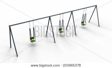 triple swing isolated on white background 3d illustration render