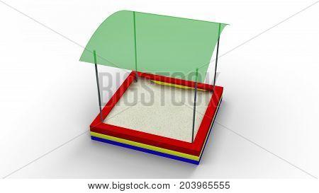 Sandbox isolated on a white background 3d illustration render
