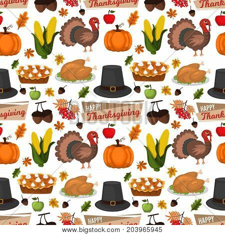 Happy Thanksgiving Celebration Design cartoon autumn greeting harvest season holiday seamless pattern background vector illustration. Traditional food dinner seasonal thanks giving poster.