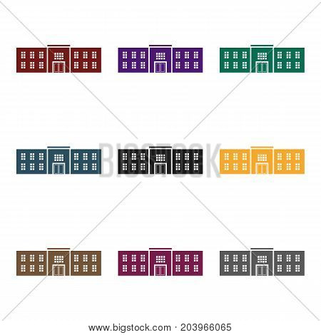 Police station icon in black style isolated on white background. Building symbol vector illustration.