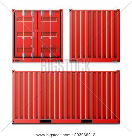 Cargo Container Vector. Classic Cargo Container. Freight Shipping Concept. Logistics, Transportation Mock Up. Front And Back Sides. Isolated On White Background Illustration