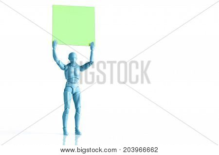 Blue male figurine holding up empty square piece of paper isolated on white with copy space