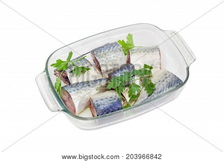 Pickled pieces of Atlantic chub mackerel prepared for baking and parsley twigs in the rectangular glass for baking on a white background
