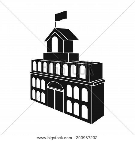 The building of the town hall. City Hall Building single icon in black style vector symbol stock illustration .