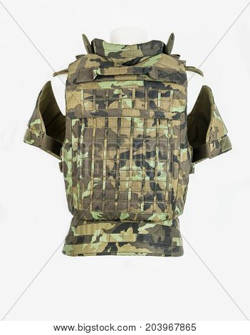 Bulletproof vest body armor covers Camouflage, on white