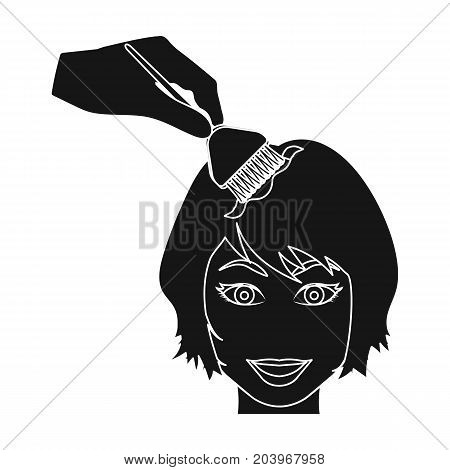 Staining of female hair in a hairdresser. Hair dyeing single icon in black style vector symbol stock illustration .