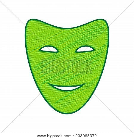 Comedy theatrical masks. Vector. Lemon scribble icon on white background. Isolated