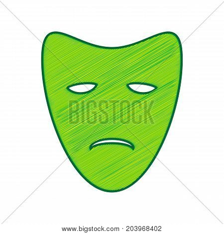 Tragedy theatrical masks. Vector. Lemon scribble icon on white background. Isolated